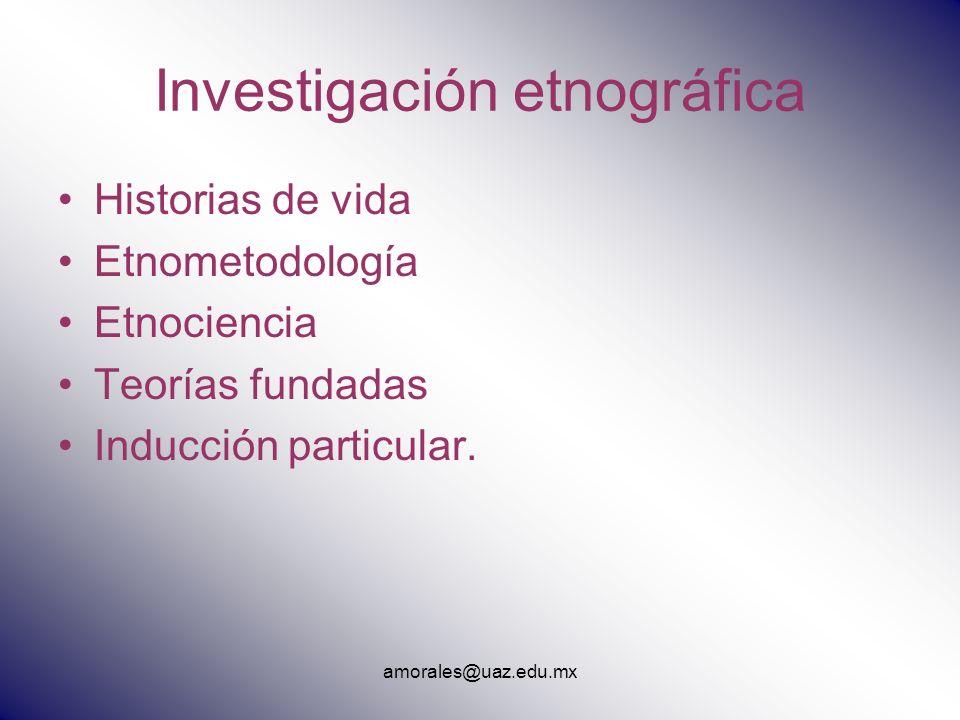 Investigación etnográfica Historias de vida Etnometodología Etnociencia Teorías fundadas Inducción particular. amorales@uaz.edu.mx