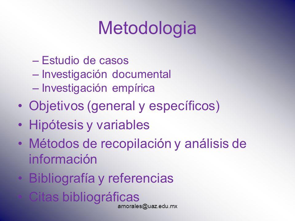 Metodologia –Estudio de casos –Investigación documental –Investigación empírica Objetivos (general y específicos) Hipótesis y variables Métodos de rec