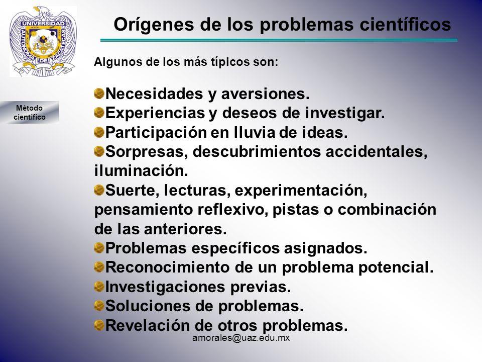 Orígenes de los problemas científicos Algunos de los más típicos son: Necesidades y aversiones. Experiencias y deseos de investigar. Participación en
