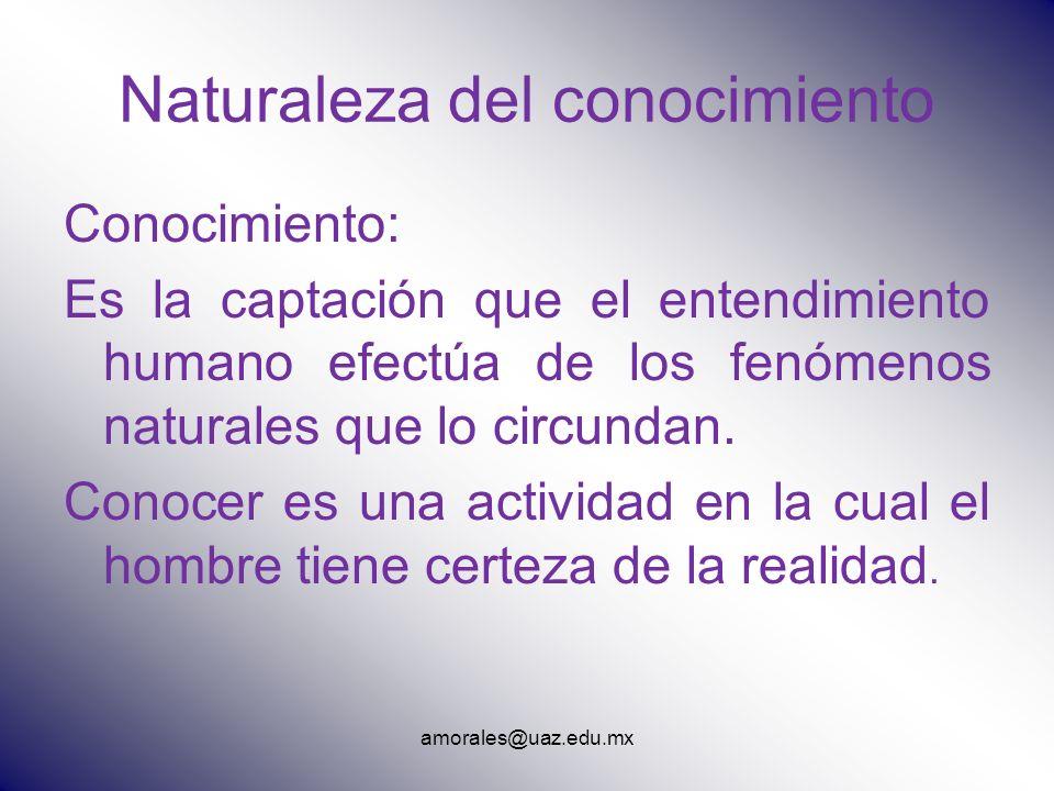 Naturaleza del conocimiento Conocimiento: Es la captación que el entendimiento humano efectúa de los fenómenos naturales que lo circundan. Conocer es