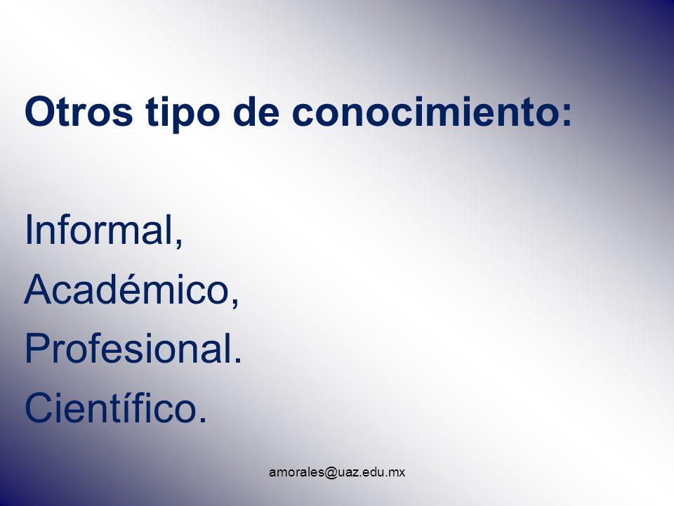 amorales@uaz.edu.mx Otros tipo de conocimiento: Informal, Académico, Profesional. Científico.