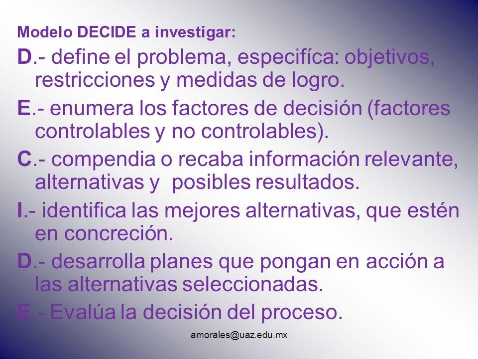 amorales@uaz.edu.mx Modelo DECIDE a investigar: D.- define el problema, especifíca: objetivos, restricciones y medidas de logro. E.- enumera los facto