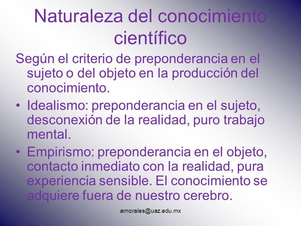 amorales@uaz.edu.mx Naturaleza del conocimiento científico Según el criterio de preponderancia en el sujeto o del objeto en la producción del conocimi