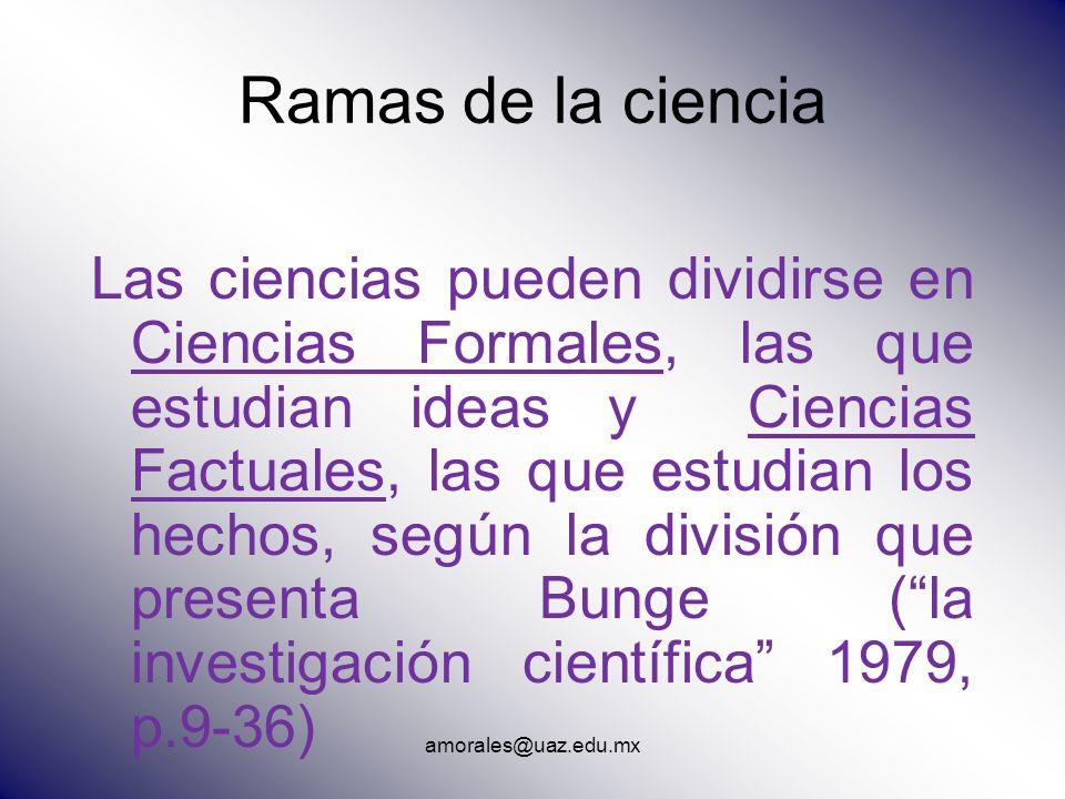 amorales@uaz.edu.mx Ramas de la ciencia Las ciencias pueden dividirse en Ciencias Formales, las que estudian ideas y Ciencias Factuales, las que estud