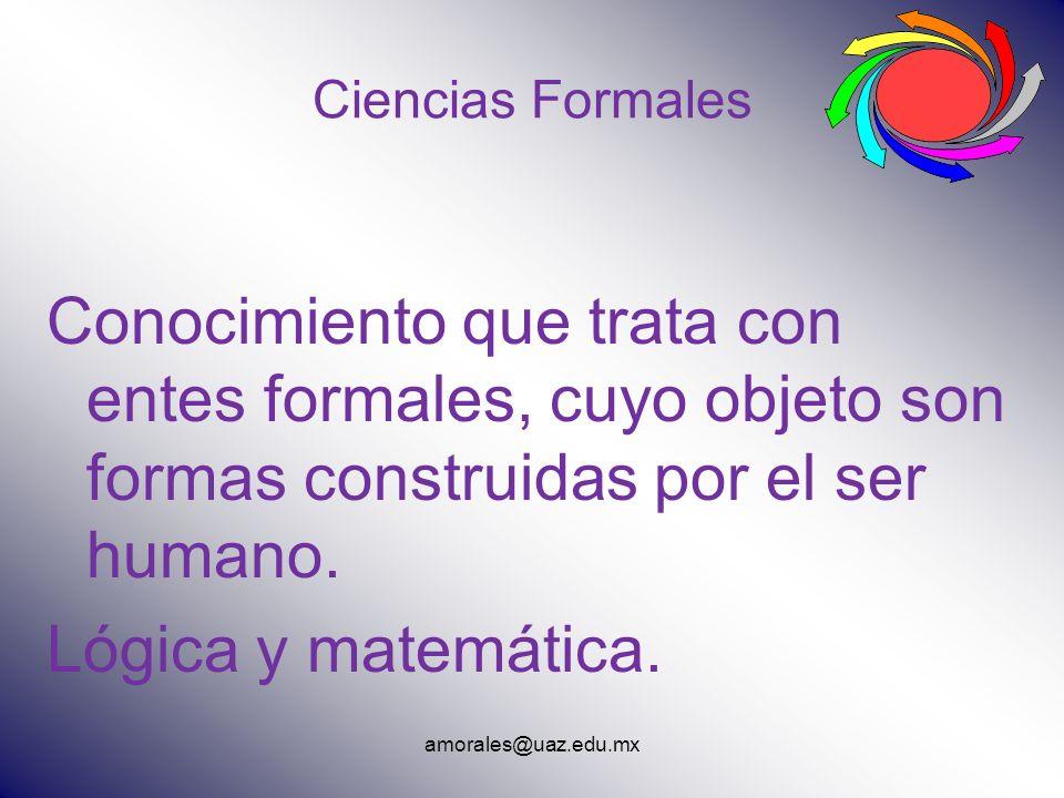 amorales@uaz.edu.mx Ciencias Formales Conocimiento que trata con entes formales, cuyo objeto son formas construidas por el ser humano. Lógica y matemá