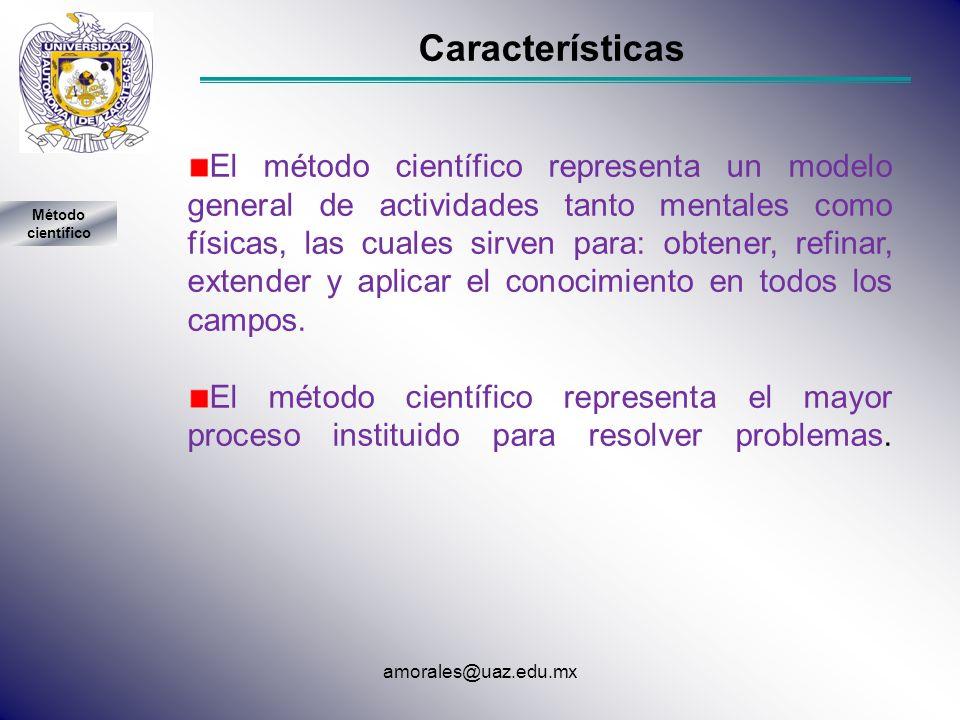 Características El método científico representa un modelo general de actividades tanto mentales como físicas, las cuales sirven para: obtener, refinar