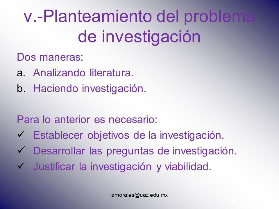 v.-Planteamiento del problema de investigación Dos maneras: a.Analizando literatura. b.Haciendo investigación. Para lo anterior es necesario: Establec