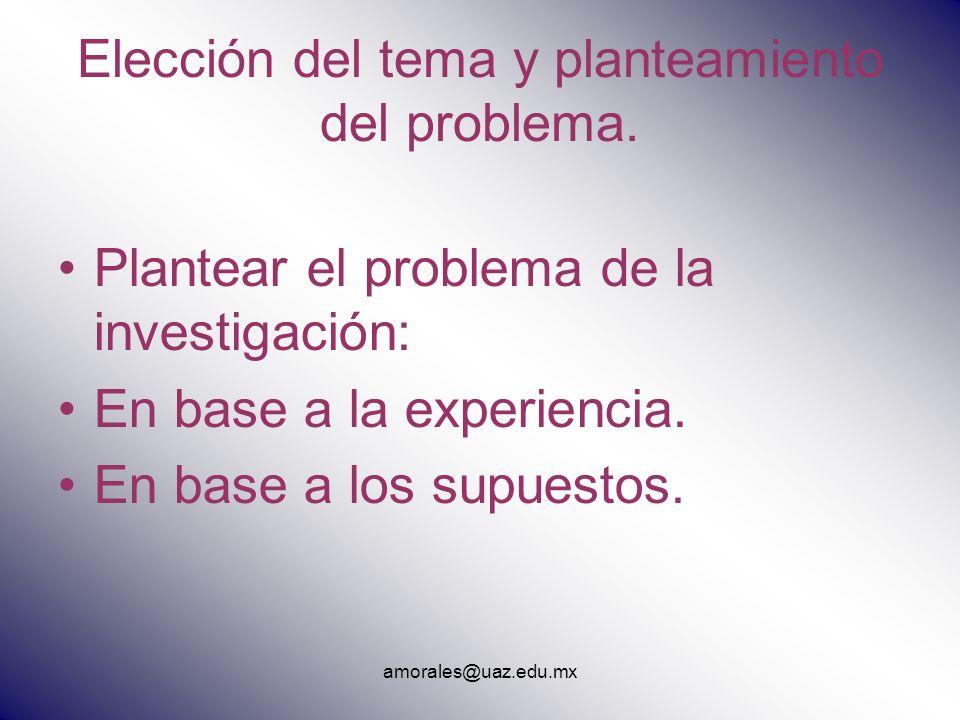 Elección del tema y planteamiento del problema. Plantear el problema de la investigación: En base a la experiencia. En base a los supuestos.
