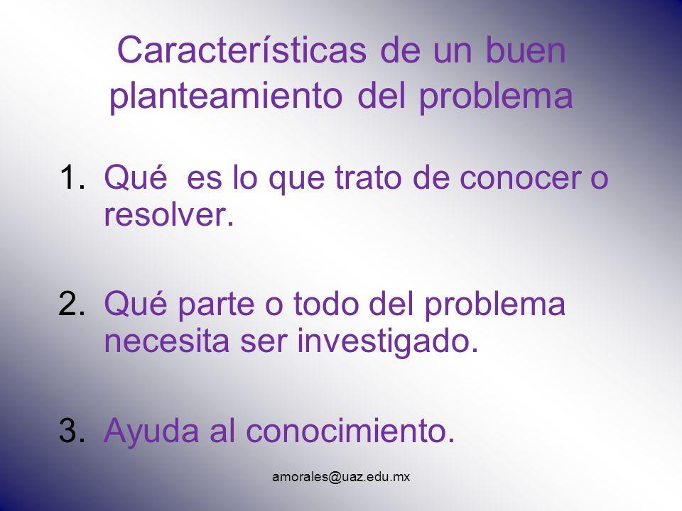amorales@uaz.edu.mx Características de un buen planteamiento del problema 1.Qué es lo que trato de conocer o resolver. 2.Qué parte o todo del problema