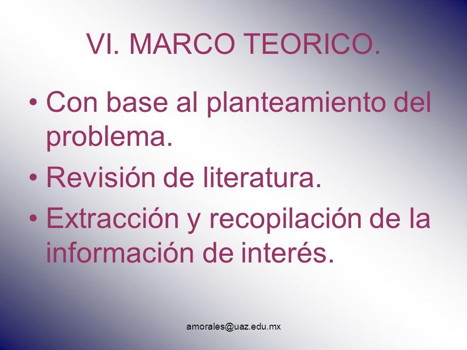amorales@uaz.edu.mx VI. MARCO TEORICO. Con base al planteamiento del problema. Revisión de literatura. Extracción y recopilación de la información de