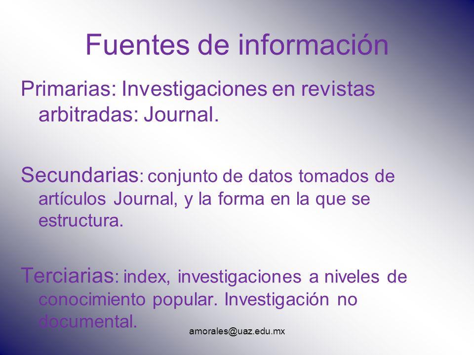 amorales@uaz.edu.mx Fuentes de información Primarias: Investigaciones en revistas arbitradas: Journal. Secundarias : conjunto de datos tomados de artí
