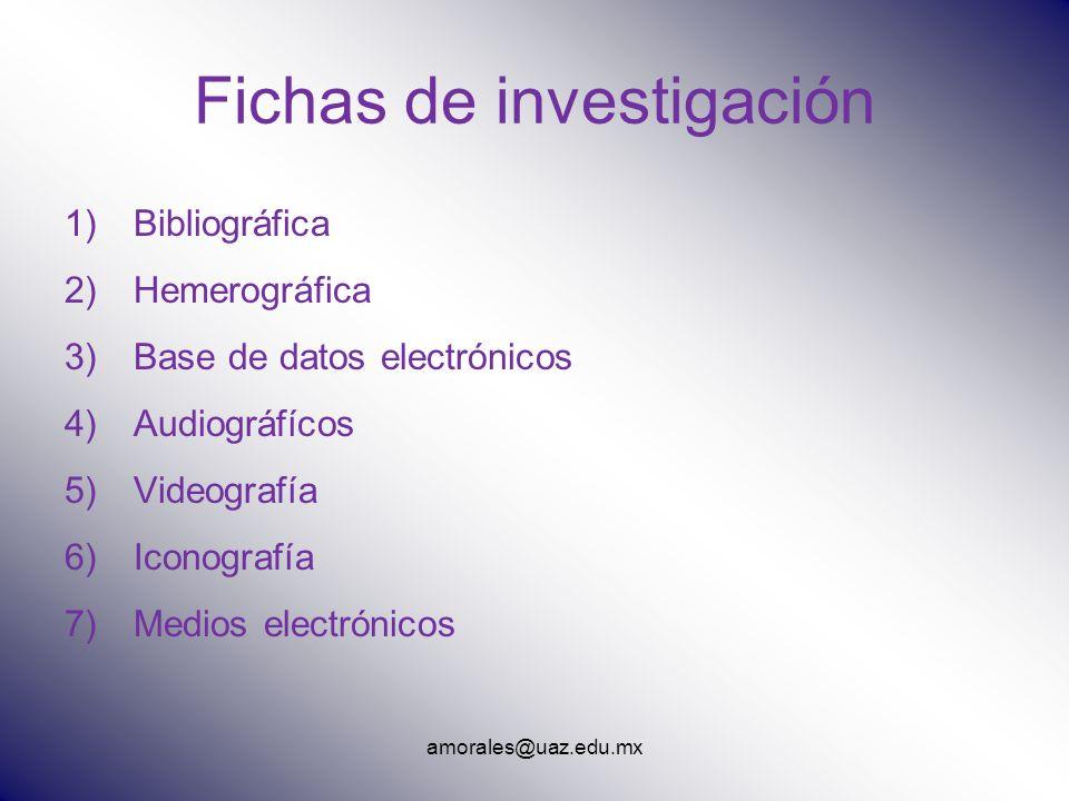 amorales@uaz.edu.mx Fichas de investigación 1)Bibliográfica 2)Hemerográfica 3)Base de datos electrónicos 4)Audiográfícos 5)Videografía 6)Iconografía 7