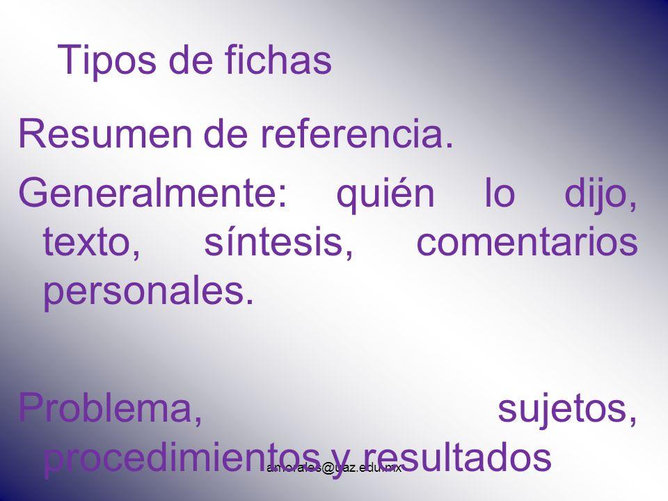 amorales@uaz.edu.mx Tipos de fichas Resumen de referencia. Generalmente: quién lo dijo, texto, síntesis, comentarios personales. Problema, sujetos, pr