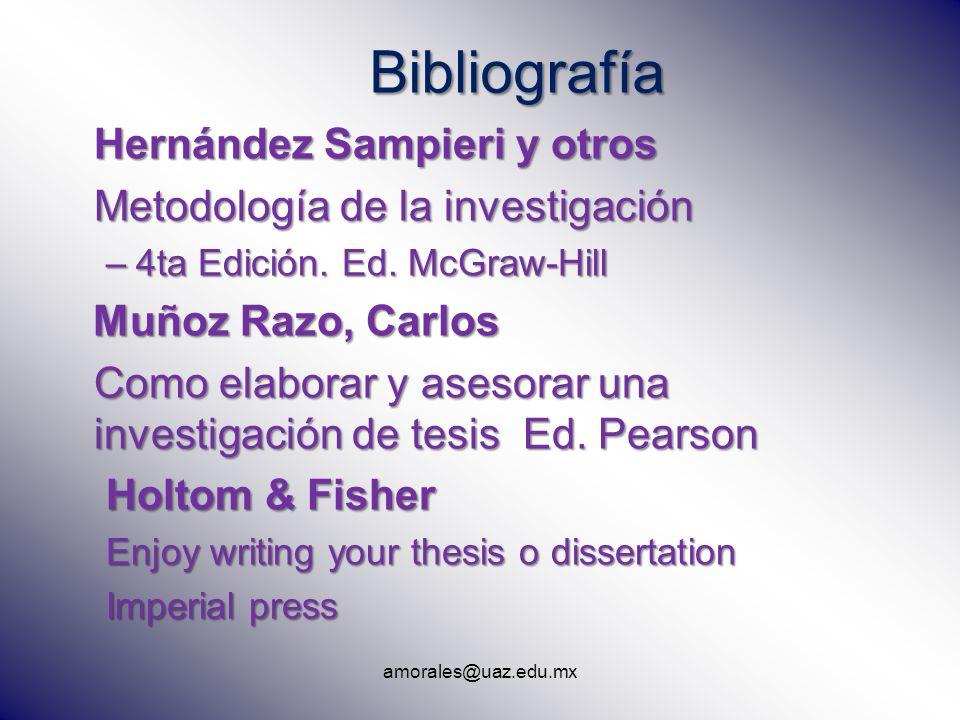 Bibliografía Hernández Sampieri y otros Metodología de la investigación –4ta Edición. Ed. McGraw-Hill Muñoz Razo, Carlos Muñoz Razo, Carlos Como elabo