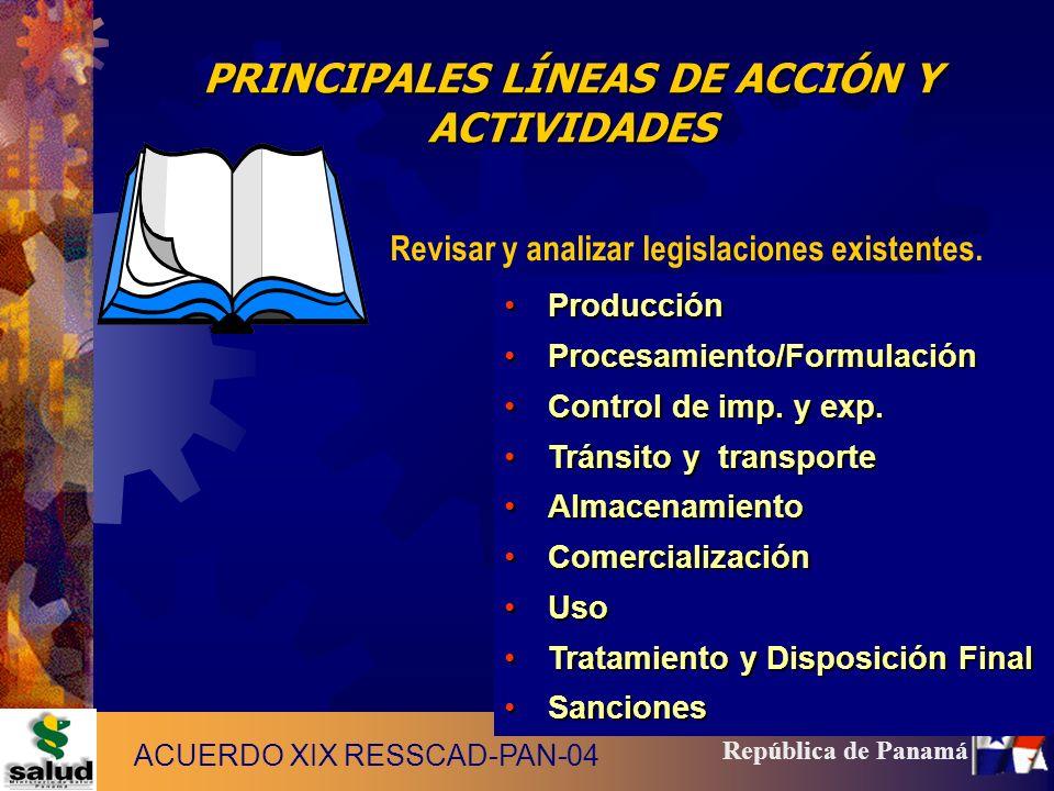 10 República de Panamá PRINCIPALES LÍNEAS DE ACCIÓN Y ACTIVIDADES Revisar y analizar legislaciones existentes. ProducciónProducción Procesamiento/Form