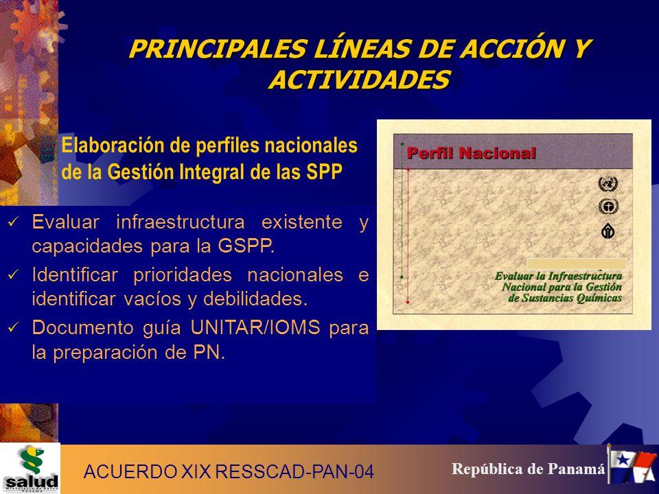 12 República de Panamá PRINCIPALES LÍNEAS DE ACCIÓN Y ACTIVIDADES Elaboración de perfiles nacionales de la Gestión Integral de las SPP Evaluar infraes