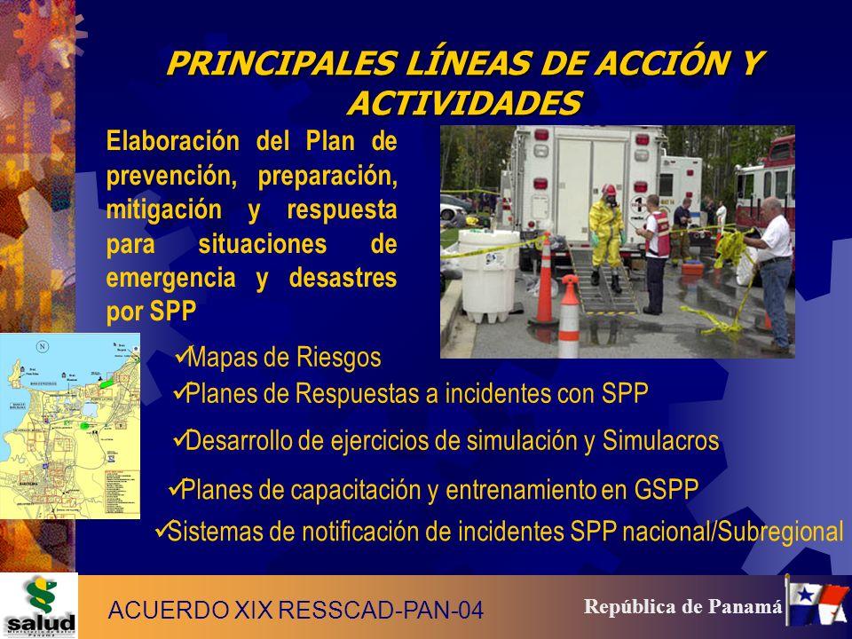 15 República de Panamá PRINCIPALES LÍNEAS DE ACCIÓN Y ACTIVIDADES Elaboración del Plan de prevención, preparación, mitigación y respuesta para situaci