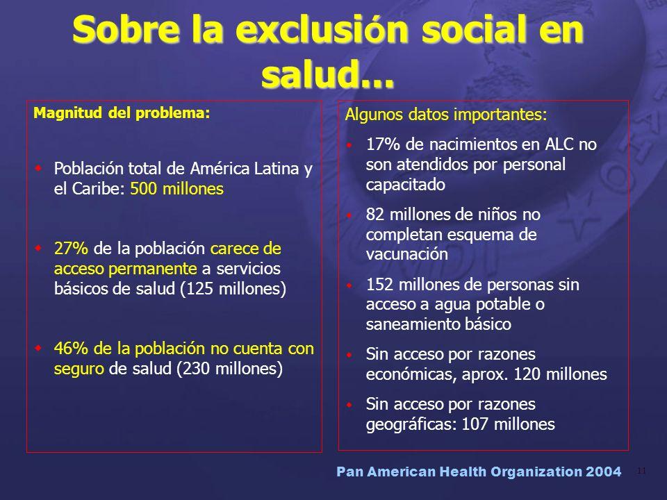 Pan American Health Organization 2004 11 Magnitud del problema: Población total de América Latina y el Caribe: 500 millones 27% de la población carece