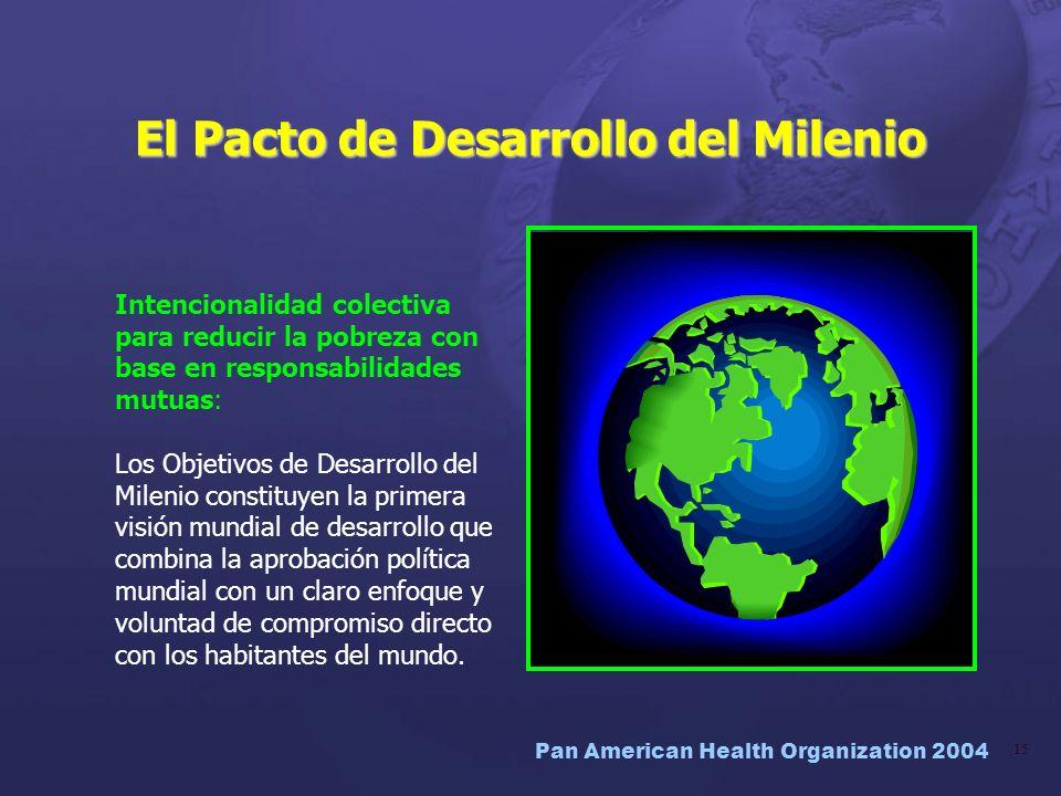 Pan American Health Organization 2004 15 El Pacto de Desarrollo del Milenio Intencionalidad colectiva para reducir la pobreza con base en responsabili