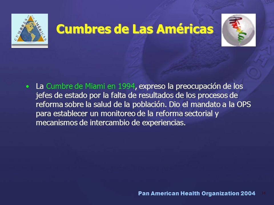 Pan American Health Organization 2004 16 Cumbres de Las Américas La Cumbre de Miami en 1994, expreso la preocupación de los jefes de estado por la fal