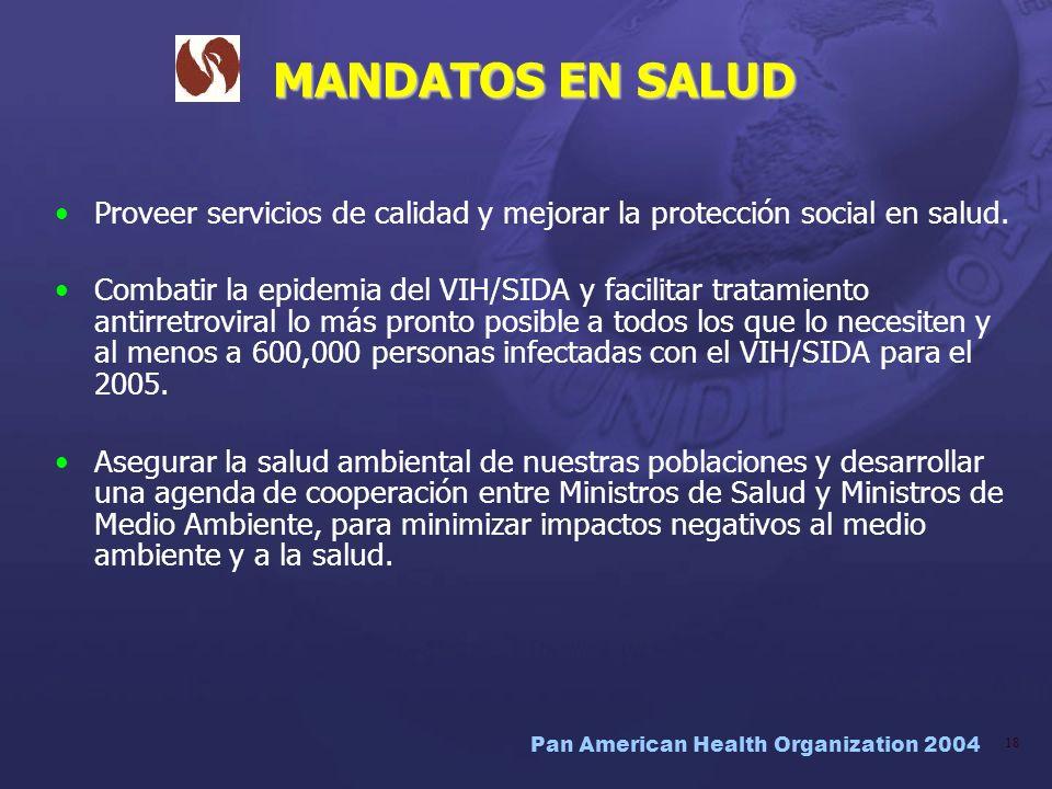 Pan American Health Organization 2004 18 MANDATOS EN SALUD Proveer servicios de calidad y mejorar la protección social en salud. Combatir la epidemia