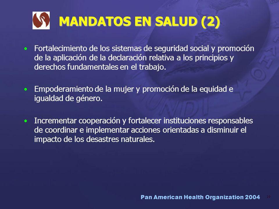 Pan American Health Organization 2004 19 MANDATOS EN SALUD (2) Fortalecimiento de los sistemas de seguridad social y promoción de la aplicación de la