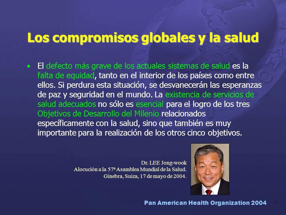 Pan American Health Organization 2004 22 Los compromisos globales y la salud El defecto más grave de los actuales sistemas de salud es la falta de equ