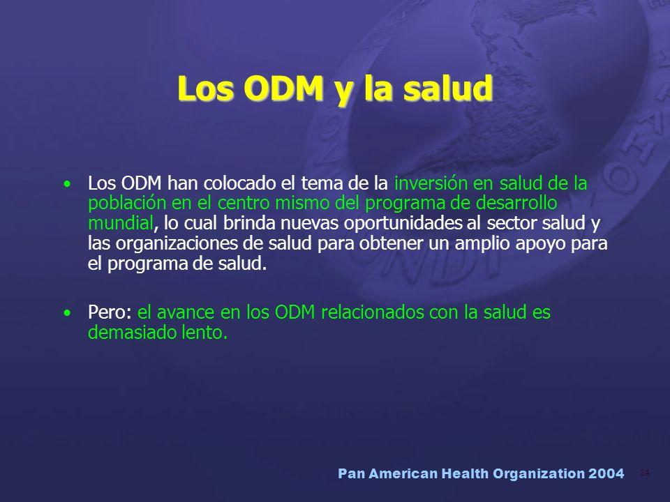 Pan American Health Organization 2004 24 Los ODM y la salud Los ODM han colocado el tema de la inversión en salud de la población en el centro mismo d