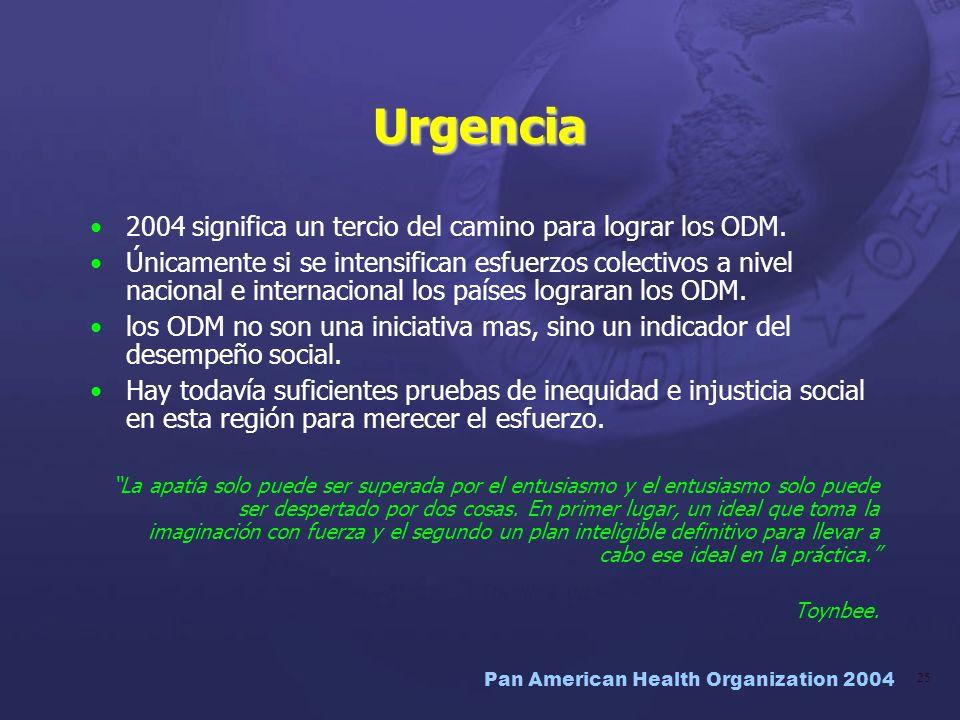 Pan American Health Organization 2004 25 Urgencia 2004 significa un tercio del camino para lograr los ODM. Únicamente si se intensifican esfuerzos col