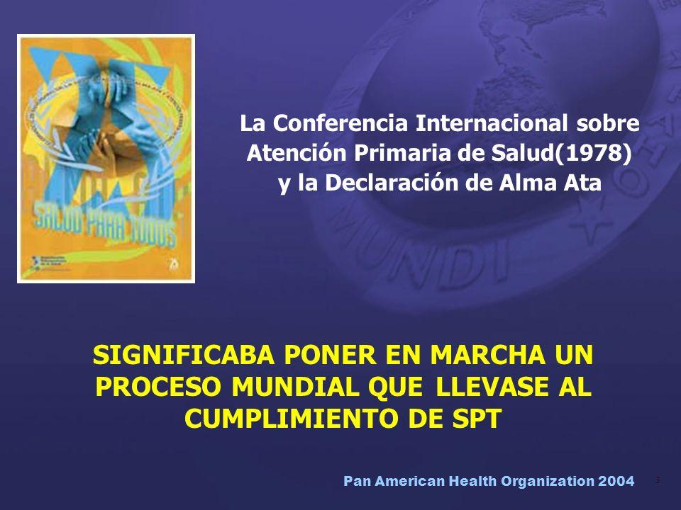 Pan American Health Organization 2004 34 OPS y los ODM Existe una conjunción cercana entre los ODM y las nuevas prioridades estratégicas y dirección de la OPS: –Abordar determinantes –Proteger la salud como un bien público y un derecho humano –Crear una sinergia de actores –Asegurar equidad en la distribución