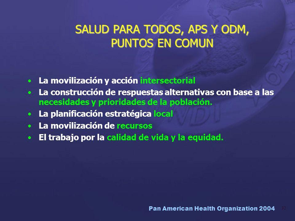 Pan American Health Organization 2004 32 La movilización y acción intersectorial La construcción de respuestas alternativas con base a las necesidades