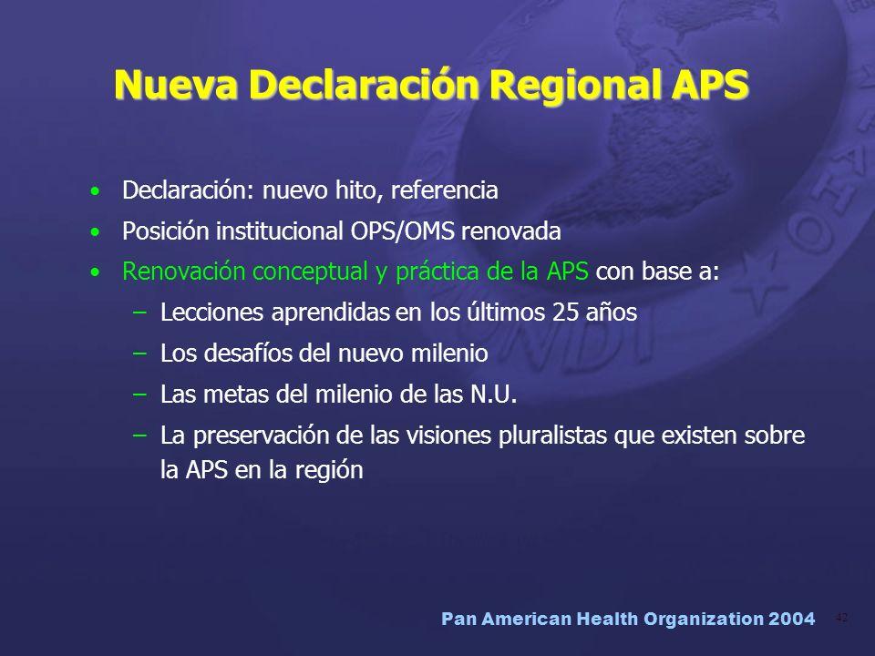 Pan American Health Organization 2004 42 Nueva Declaración Regional APS Declaración: nuevo hito, referencia Posición institucional OPS/OMS renovada Re