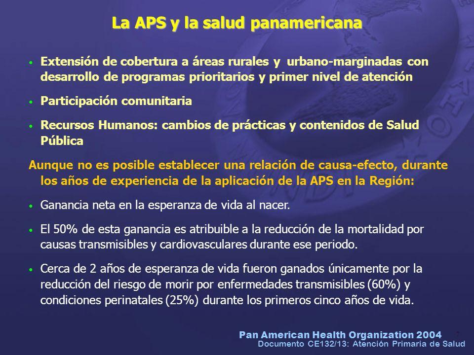 Pan American Health Organization 2004 8 Documento CE132/13: Atención Primaria de Salud Atención Primaria de Salud: asignaturas pendientes La APS y los principios de promoción de la salud han sido insuficientes para reorientar modelos asistenciales y para conseguir participación comunitaria más efectiva.