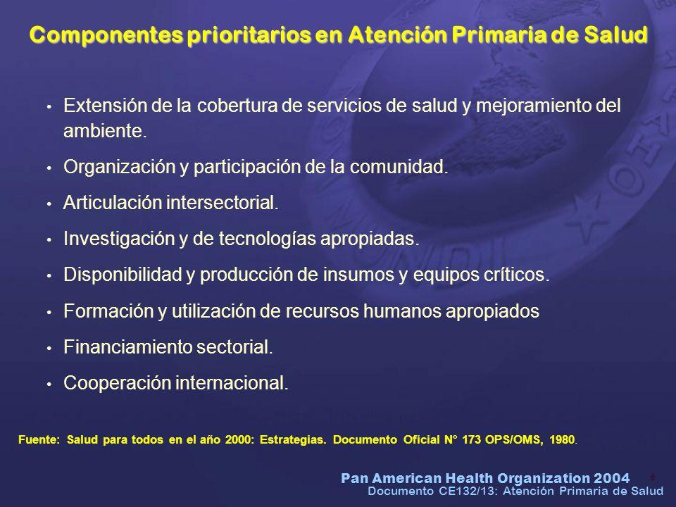 Pan American Health Organization 2004 7 Documento CE132/13: Atención Primaria de Salud Principios Básicos de la Atención Primaria de Salud Accesibilidad y cobertura universales en función de las necesidades de salud.