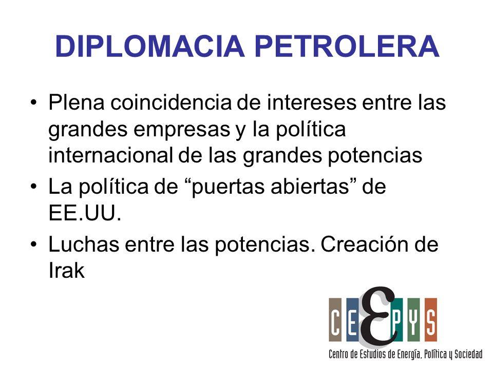 DIPLOMACIA PETROLERA Plena coincidencia de intereses entre las grandes empresas y la política internacional de las grandes potencias La política de pu
