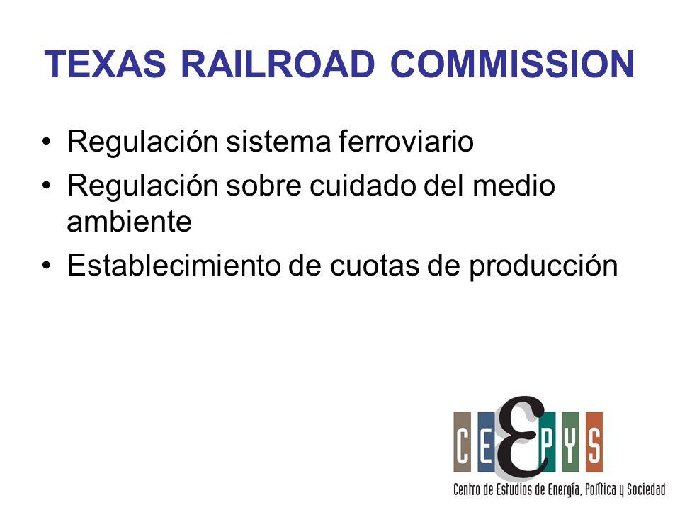 TEXAS RAILROAD COMMISSION Regulación sistema ferroviario Regulación sobre cuidado del medio ambiente Establecimiento de cuotas de producción