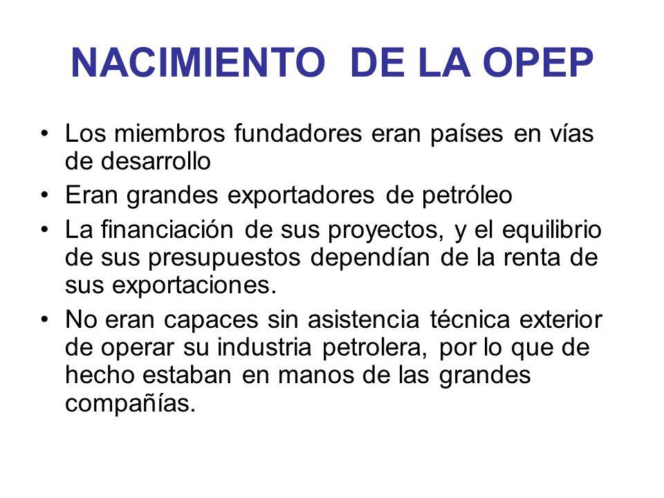 NACIMIENTO DE LA OPEP Los miembros fundadores eran países en vías de desarrollo Eran grandes exportadores de petróleo La financiación de sus proyectos