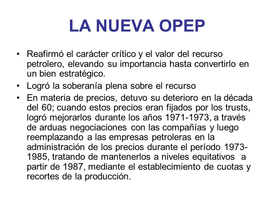 LA NUEVA OPEP Reafirmó el carácter crítico y el valor del recurso petrolero, elevando su importancia hasta convertirlo en un bien estratégico. Logró l