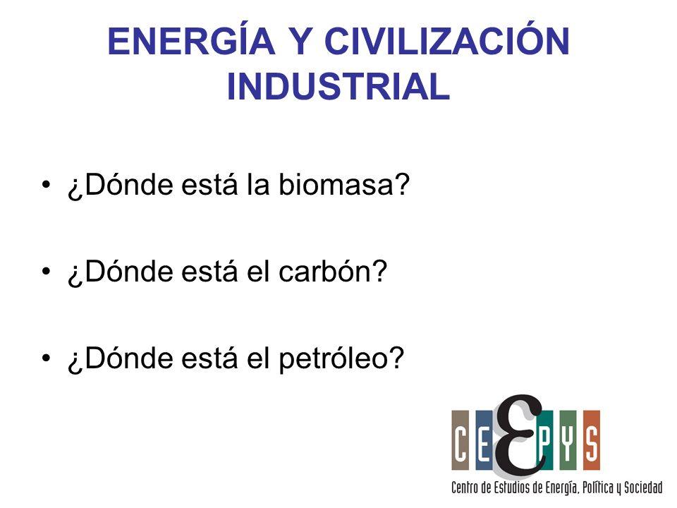 ENERGÍA Y CIVILIZACIÓN INDUSTRIAL ¿Dónde está la biomasa? ¿Dónde está el carbón? ¿Dónde está el petróleo?