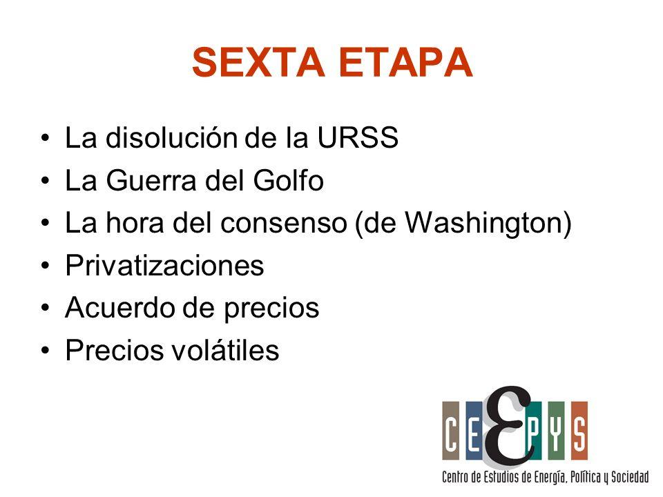 SEXTA ETAPA La disolución de la URSS La Guerra del Golfo La hora del consenso (de Washington) Privatizaciones Acuerdo de precios Precios volátiles