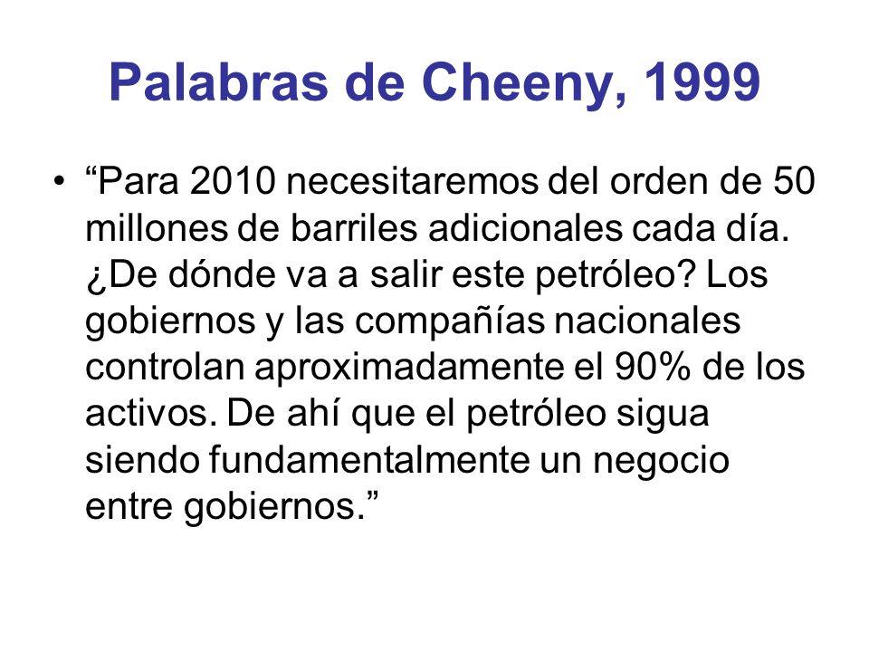 Palabras de Cheeny, 1999 Para 2010 necesitaremos del orden de 50 millones de barriles adicionales cada día. ¿De dónde va a salir este petróleo? Los go