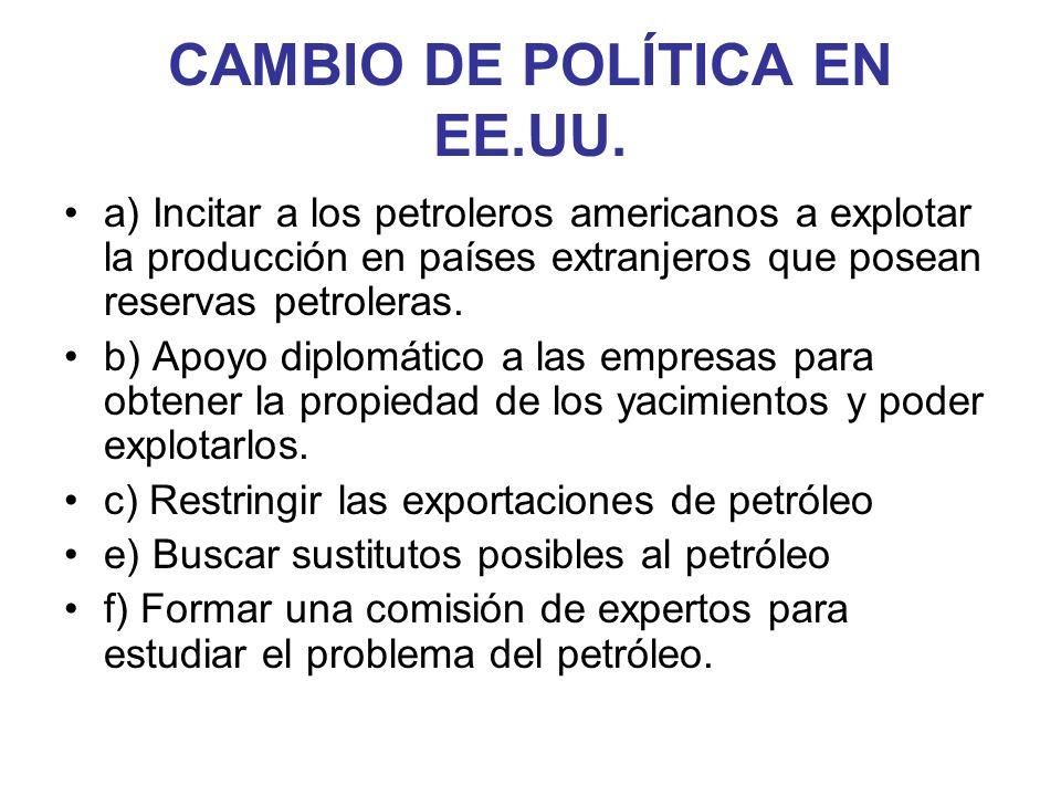 CAMBIO DE POLÍTICA EN EE.UU. a) Incitar a los petroleros americanos a explotar la producción en países extranjeros que posean reservas petroleras. b)