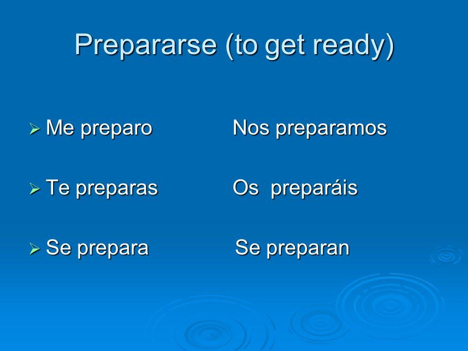 Prepararse (to get ready) Me preparo Nos preparamos Me preparo Nos preparamos Te preparas Os preparáis Te preparas Os preparáis Se prepara Se preparan