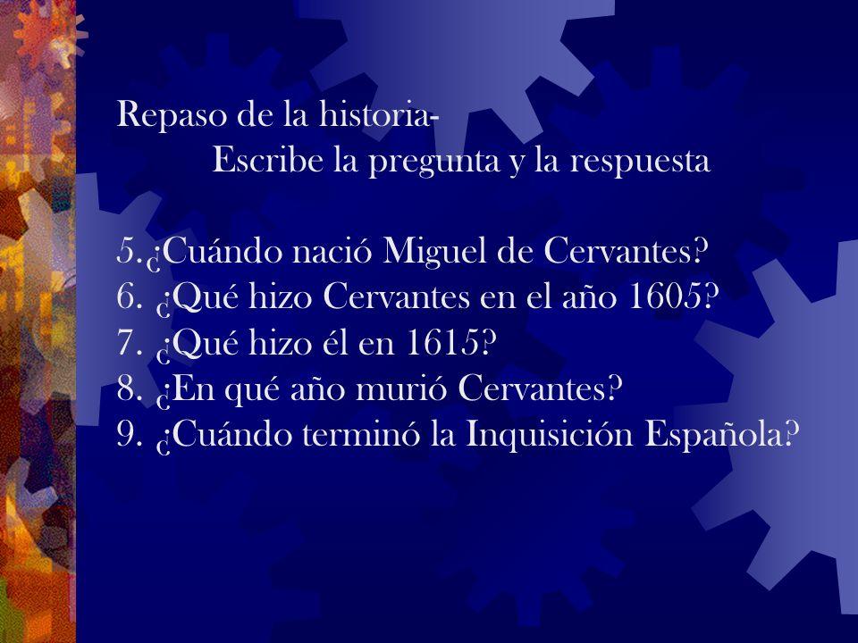 Repaso de la historia- Escribe la pregunta y la respuesta 1. ¿Qué pasó en el año 711? 2. ¿Quiénes establecieron la Inquisición Española y en qué año?