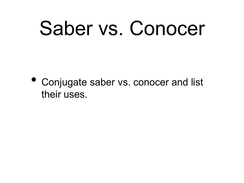 Ser vs. Estar Conjugate Ser vs. Estar and list their uses with the acronyms.