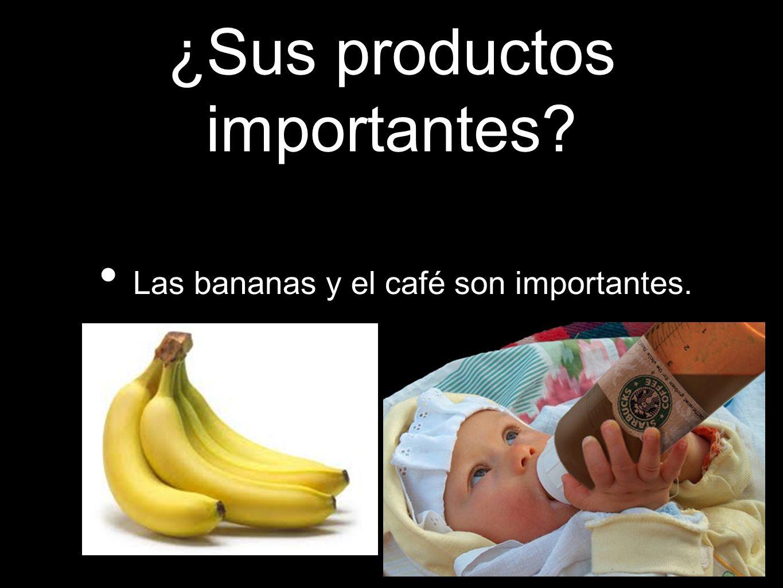 ¿Sus productos importantes? Las bananas y el café son importantes.