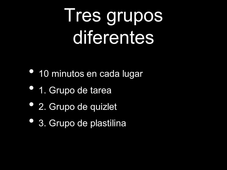 Tres grupos diferentes 10 minutos en cada lugar 1.