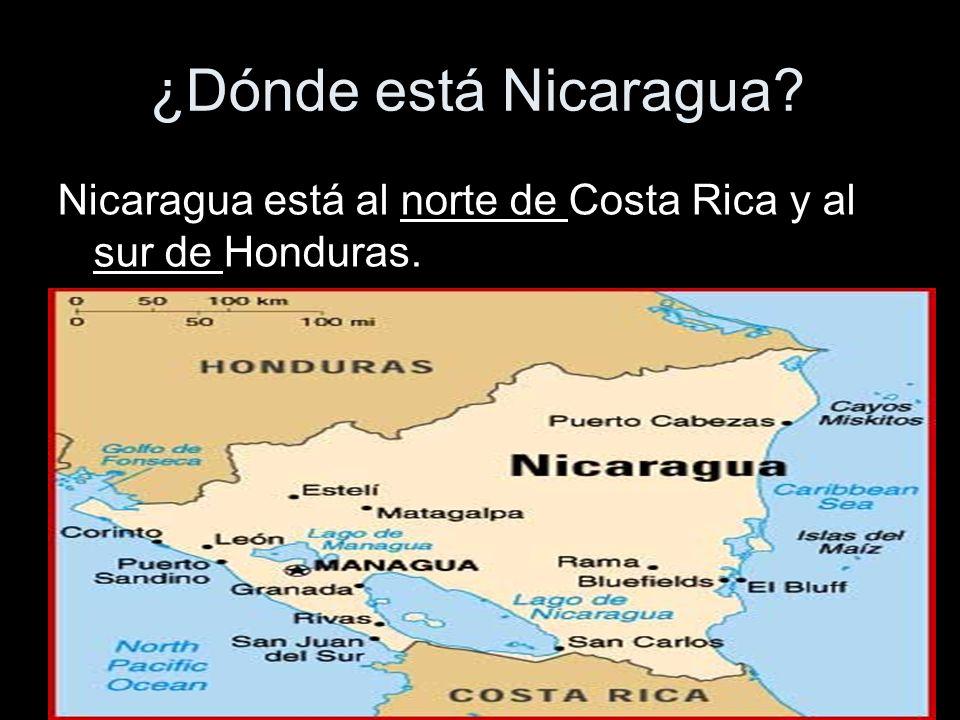 ¿Dónde está Nicaragua? Nicaragua está al norte de Costa Rica y al sur de Honduras.
