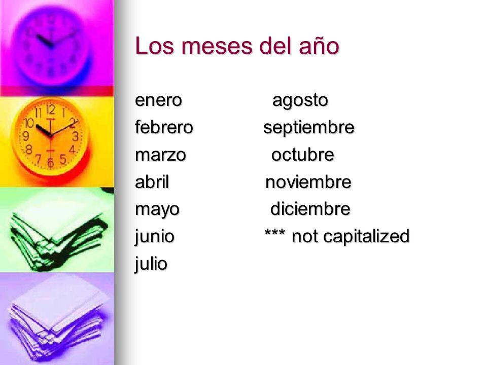 Los meses del año enero agosto febrero septiembre marzo octubre abril noviembre mayo diciembre junio *** not capitalized julio