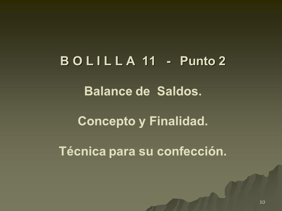 10 B O L I L L A 11 - Punto 2 B O L I L L A 11 - Punto 2 Balance de Saldos. Concepto y Finalidad. Técnica para su confección.